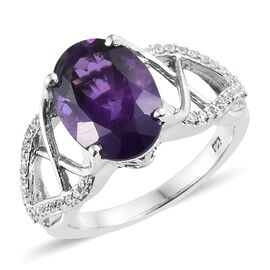 6 Carat Lusaka Amethyst and Zircon Solitaire Ring in Platinum Plated Silver