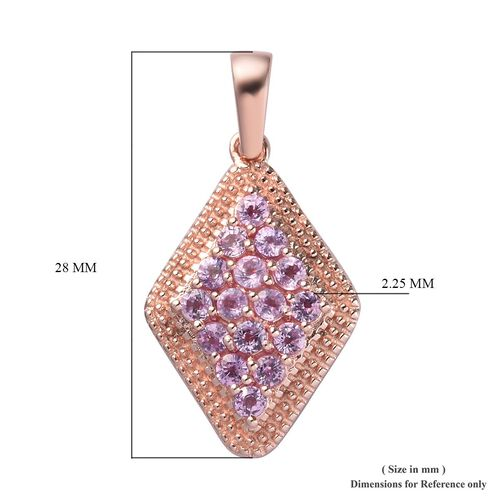 Madagascar Pink Sapphire Cluster Pendant in Rose Gold Overlay Sterling Silver 2.00 Ct.