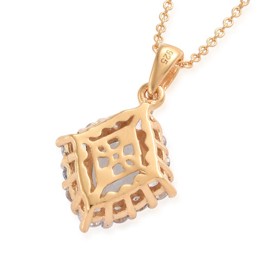 Espirito Santo Aquamarine (Ovl 1.10 Cts), Natural Cambodian Zircon Pendant With Chain (Size 20) in 14K Gold Overlay Sterling Silver 2.000 Ct.