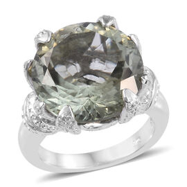 10 Carat Green Amethyst and Diamond Solitaire Ring in Platinum Plated Sterling Silver 8.25 Grams