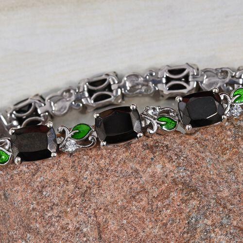 Elite Shungite (Cush), Natural Cambodian Zircon Enamelled Bracelet (Size 7) in Platinum Overlay Sterling Silver 14.50 Ct, Silver wt 16.20 Gms