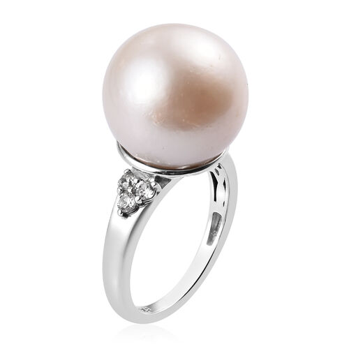 Edison Pearl and Natural Cambodian Zircon Ring in Platinum Overlay Sterling Silver