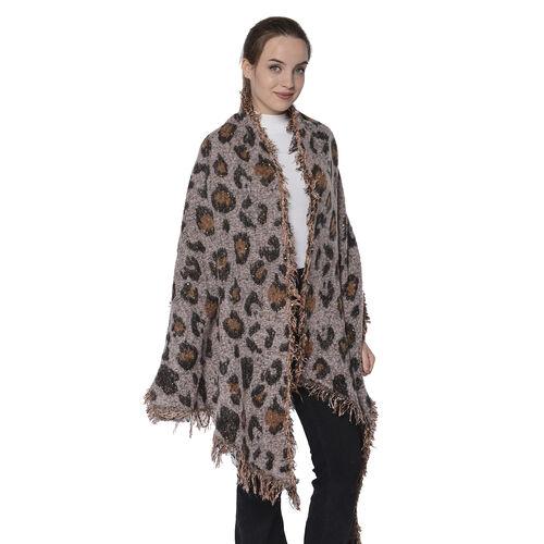 Pink Leopard Print Scarf (Size 60x210cm)