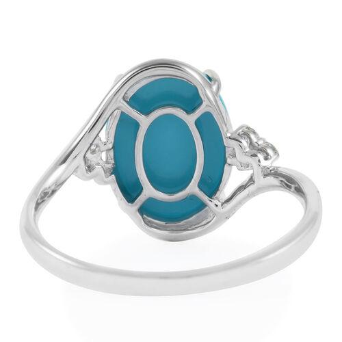 ILIANA 18K White Gold AAA Arizona Sleeping Beauty Turquoise (Ovl 14x10mm), Diamond Ring 4.70 Ct.