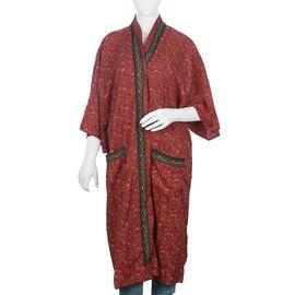 Designer Inspired - Leaf and Floral Pattern Shrug Free Size - Red Colour