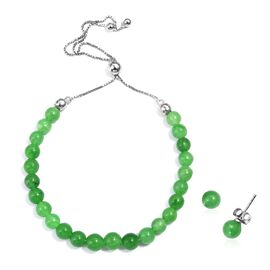 Burmese Green Jade (Rnd) Bracelet (Size 6.5 to 10) and Stud Earrings (with Push Back) in Rhodium Ove