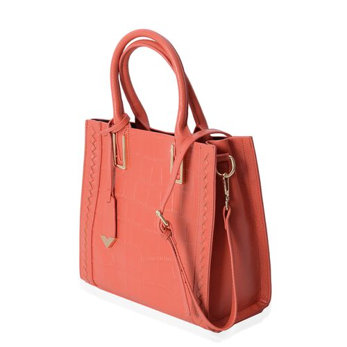 100% Genuine Leather Orange Croc Embossed Bag with Removable Shoulder Strap (Size 28x24.5x12 Cm)