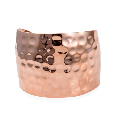 Designer Inspired- Hand Made Rose Plated Cuff Bangle (Size 7.5) with Hammered Finish