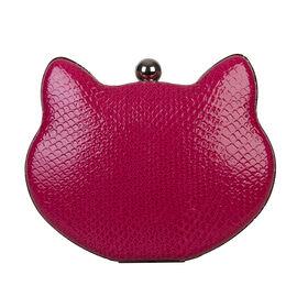 Bulaggi Collection - Cat Clutch Bag with Detachable Shoulder Chain (Size 17x12x03 Cm) - Fuchsia