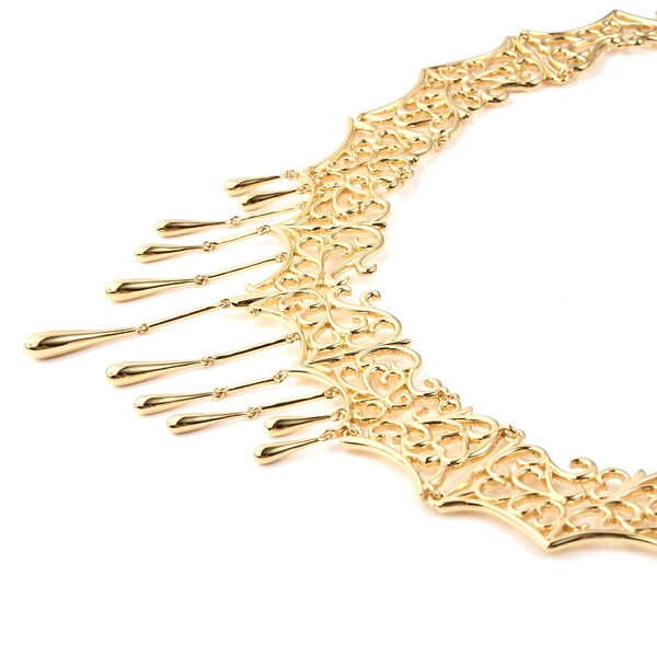LucyQ Victorian Era Lace Collection - Yellow Gold Overlay Sterling Silver Drip Necklace (Size 18 with 4 inch Extender), Silver wt 68.00 Gms