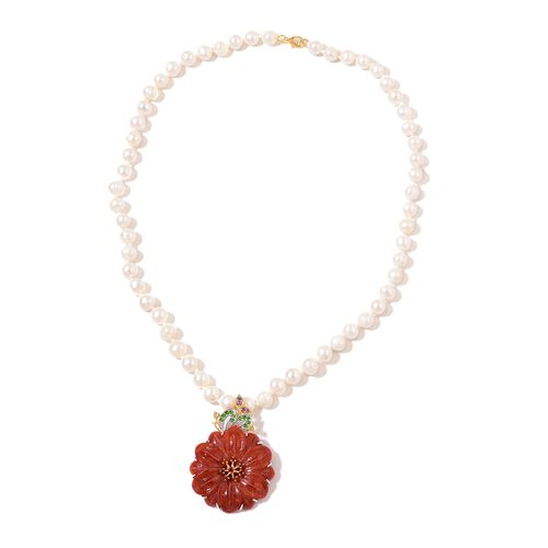 Limited Edition- Hand Carved Burmese Red Jade, Fresh Water Pearl, Mozambique Garnet, Amethyst, Russian Diopside and Citrine Floral Necklace (Size 18) in Yellow Gold Overlay Sterling Silver 180.380 Ct.