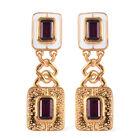 Rhodolite Garnet Dangle Earrings (with Push Back) in 14K Gold Overlay Sterling Silver 3.00 Ct, Silve