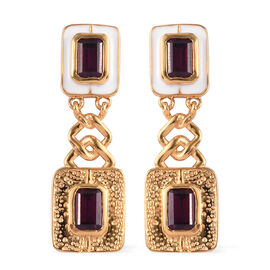 Rhodolite Garnet Dangle Earrings (with Push Back) in 14K Gold Overlay Sterling Silver 3.00 Ct, Silve