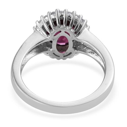 Odisha Rhodolite Garnet (Ovl 2.00 Ct), Natural Cambodian Zircon Ring in Platinum Overlay Sterling Silver 2.500 Ct.