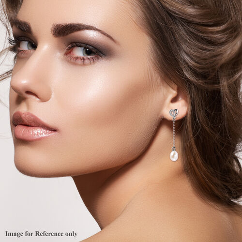 White Freshwater Pearl and Simulated Diamond Heart Dangle Earrings (with Push Back) in Rhodium Overlay Sterling Silver