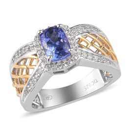 GP - Tanzanite, Natural Cambodian Zircon and Blue Sapphire Criss Cross Ring in Platinum and Yellow G