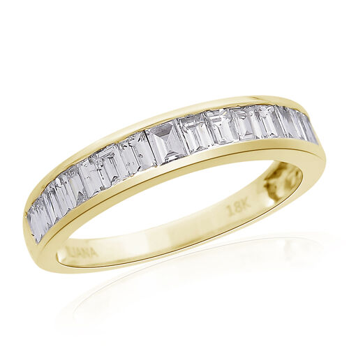 ILIANA 0.50 Carat Diamond Half Eternity Band Ring in 18K Gold 2.59 Grams IGI Certified SI GH