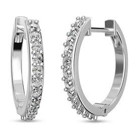 RHAPSODY 950 Platinum IGI Certified Diamond (VS/E-F) Inside-Out Hoop Earrings (with Clasp Lock) 0.50