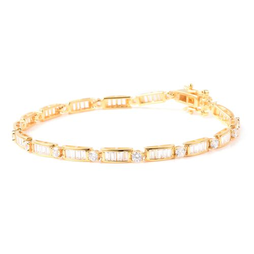 ELANZA Simulated Diamond (Rnd and Bgt) Link Bracelet (Size 7.5) in Yellow Gold Overlay Sterling Silver, Silver wt 8.13 Gms