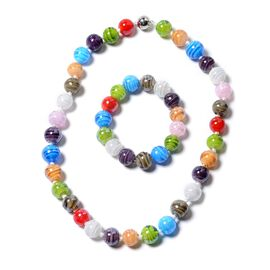 2 Piece Set - Multi Colour Murano Glass Beads Necklace (Size 20) and Bracelet (Size 7) in Stainless