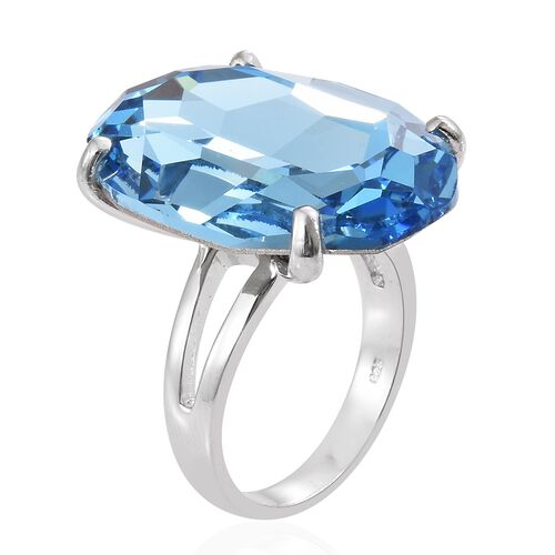 J Francis Crystal from Swarovski - Aquamarine Colour Crystal (Ovl) Ring in Platinum Overlay Sterling Silver, Silver wt 6.21 Gms.