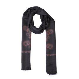 100% Cashmere Wool Paisley Design Scarf (Size 70x200 Cm) - Black