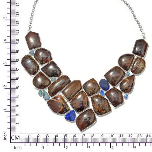One Off A Kind- Boulder Opal Rock and Opal Double Necklace (Size 18 with 1 inch Extender) in Sterling Silver 729.100 Ct. Silver wt. 62.38 Gms.