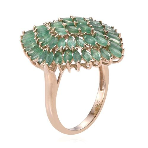 9K Y Gold AA Kagem Zambian Emerald (Mrq) Cluster Ring 5.000 Ct.