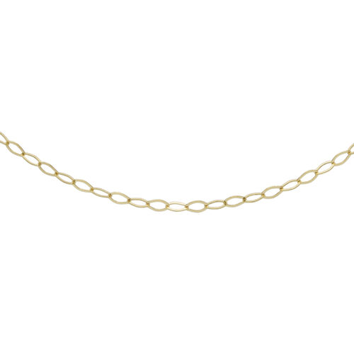 Italian Made 9K Yellow Gold Oval Link Necklace (Size 17.5)