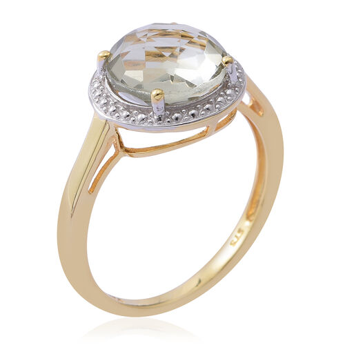 Green Amethyst (Rnd) Solitaire Ring in Yellow Gold Overlay Sterling Silver 3.150 Ct.