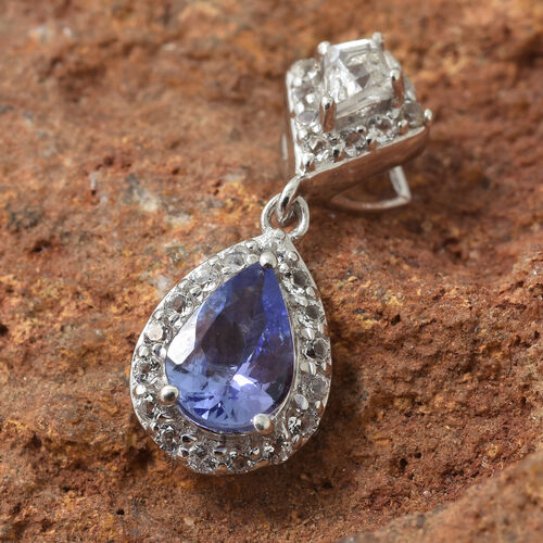 Tanzanite (Pear), White Topaz Pendant in Platinum Overlay Sterling Silver 1.000 Ct.