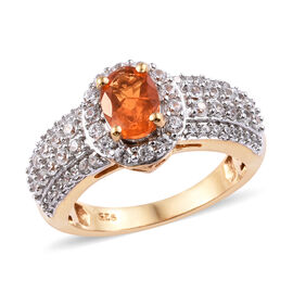 1.50 Carat Jalisco Fire Opal and Cambodian Zircon Halo Ring in Gold Plated Sterling Silver 4 Grams