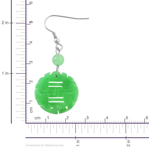 Green Jade Chinese Character XI (Double Happiness) Hook Earrings in Rhodium Plated Sterling Silver 23.000 Ct.