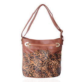 Leopard Pattern Cross Body Bag with Adjustable Shoulder Strap (Size 30.5x30.5x15 Cm) Colour Brown