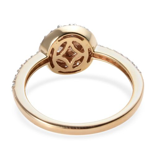 9K Yellow Gold Certified Diamond (I2-I3/G-H) Floral Cluster Ring 0.50 Ct.