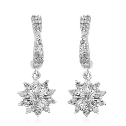 0.50 Ct Diamond Cluster Drop Earrings in Platinum Plated Sterling Silver