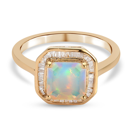 Asscher Cut Ethiopian Welo Opal and Diamond Halo Ring in 14K Gold Overlay Sterling Silver 1.15 Ct.