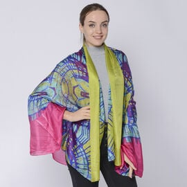 LA MAREY 100% Mulberry Silk Abstract Pattern Womens Scarf (Size:175x110Cm) - Yellow and Navy