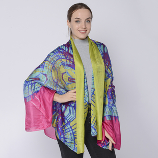 LA MAREY Mulberry Silk Printed Scarf - Yellow, Blue and Pink