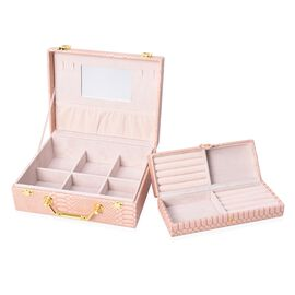 2 Piece Set - 2 Tier Removable Dragon Skin Pattern Jewellery Box with Inside Mirror and Handle - Blu
