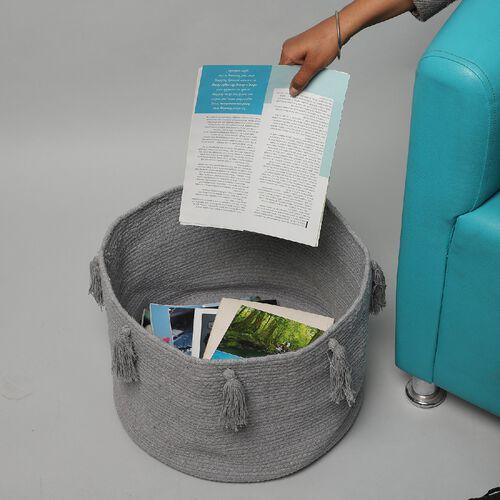 100% Cotton Braided Multipurpose Grey Basket With Tassels (45x45x30cm)