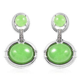 Green Jade and Natural Cambodian Zircon Dangle Earrings (with Push Back) in Rhodium Overlay Sterling