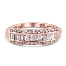 Limited Available- 9K Rose Gold SGL Certified Natural Pink Diamond (I3) Band Ring 0.500 Ct.