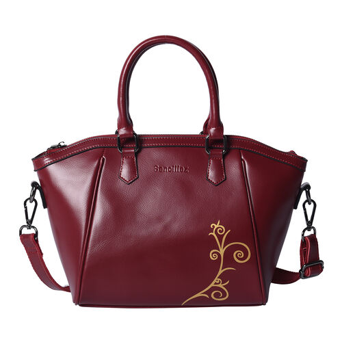 100% Genuine Leather Vine Pattern Tote Bag with Zipper Closure, Detachable and Adjustable Shoulder S