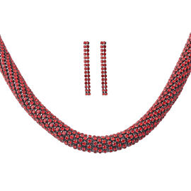 2 Piece Set - Red Austrian Crystal Necklace (Size 18 with 4 inch Extender) and Earrings (with Push B