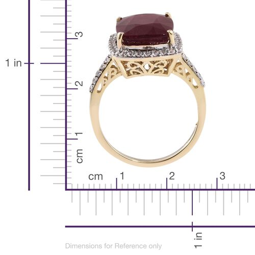 Rare Size 16.25 Ct AAA African Ruby and White Zircon Ring in 9K Gold 5.01 gms