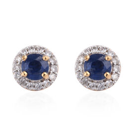 Kashmir Blue Kyanite (Rnd), Natural Cambodian Zircon Stud Earrings (with Push Back) in 14K Gold Overlay Sterling Silver 1.190 Ct.