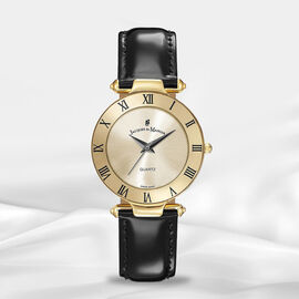 Jacques Du Manoir Swiss Movement Champagne Dial Water Resistant Coupole Watch with Black Strap - 33m