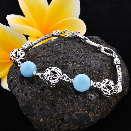 Royal Bali Collection - Arizona Sleeping Beauty Turquoise Beads Bracelet (Size 7.5 with Extender) in Sterling Silver 10.00 Ct, Silver wt 11.82 Gms
