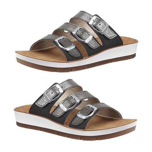 Lotus Turin Mule Sandals in Black and Pewter Colour